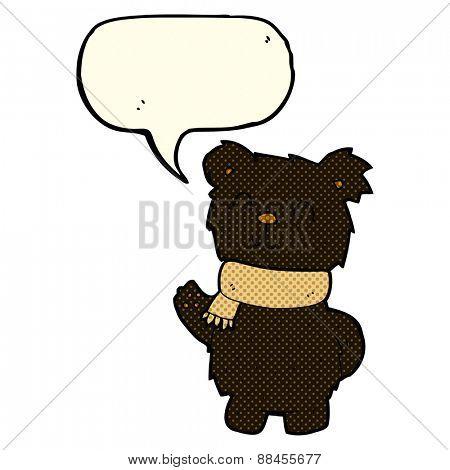 cartoon waving black bear with speech bubble