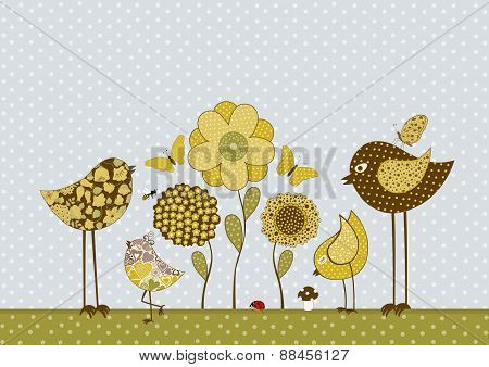 Cute Birds And Butterflies And Flowers