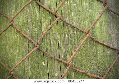 Wire Fence Rust Texture Background With Wood