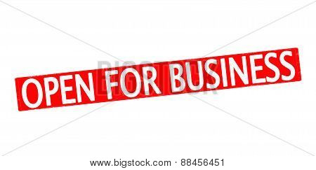Rubber stamp with text open for business inside vector illustration