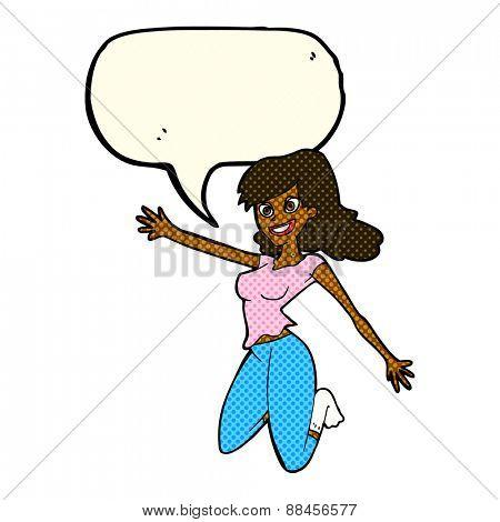 cartoon jumping woman with speech bubble
