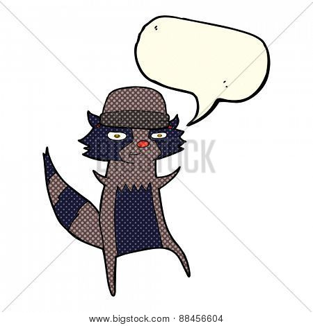cartoon raccoon with speech bubble