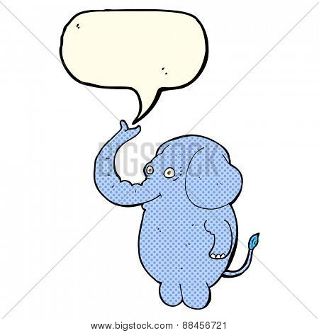 cartoon funny elephant with speech bubble