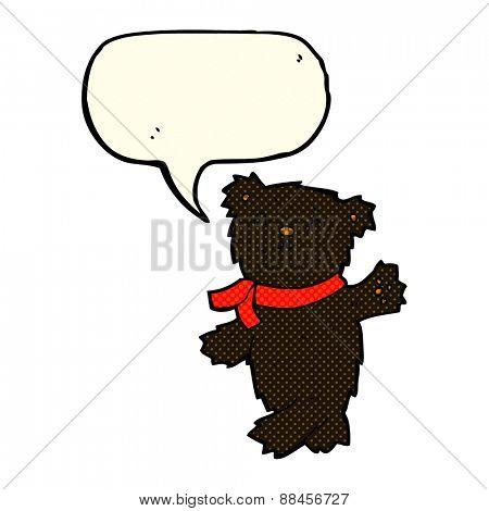 cartoon waving teddy black bear with speech bubble