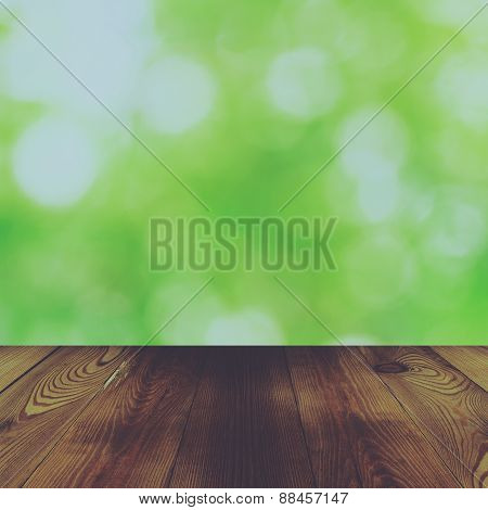 Wood Table And Bokeh Abstract Nature Green Background With Vintage Effect