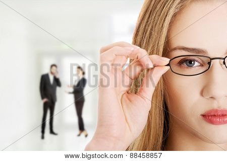 Beautiful confident businesswoman in eye glasses.