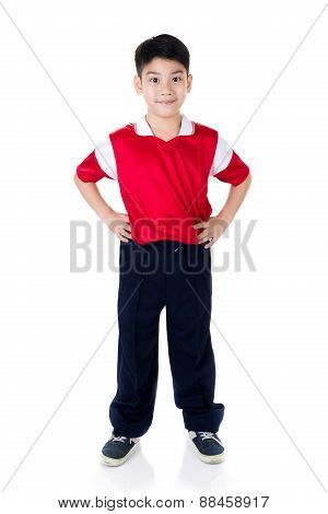 Happy Asian Boy In Sports Red Uniform
