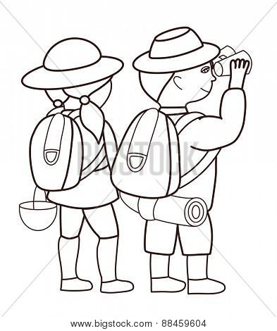 Tourists looking through binoculars (vector illustration)