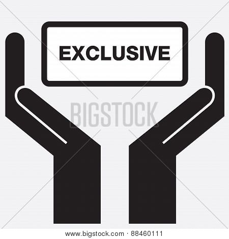Hand showing exclusive sign icon.