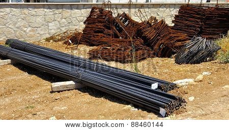 Construction job site iron building materials