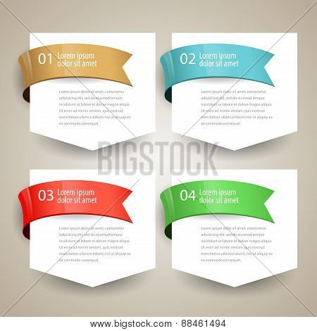 Sale Label Blank Paper With Ribbon. Vector Design