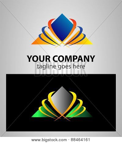 Logo combination of a triangle and waves