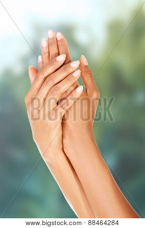 Beautiful smooth woman's hands with manicure.
