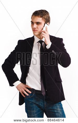 Young Happy Man Holding Mobile Phone