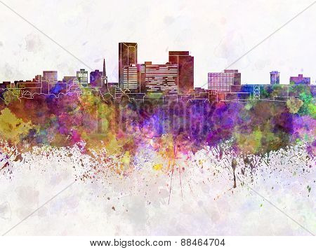 Lexington Skyline In Watercolor Background