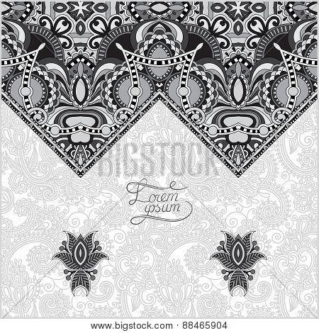 grey oriental decorative template for greeting card in a folk st