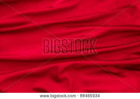 Soft Velvet Piece Of Red Fabric With Folds
