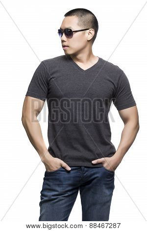 Dark Gray T-shirt On A Young Man Isolated On The White Background.