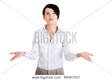 Woman with undecided open hands gesture.