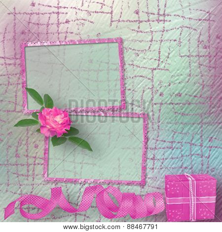 Vintage Card For Congratulations And Invitations With A Bouquet Of Pink Roses And Gift
