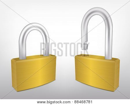 Locked and Unlocked Metal Padlocks, Vector Illustration