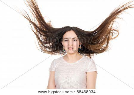 Asian Brunette Girl With Long Hair.