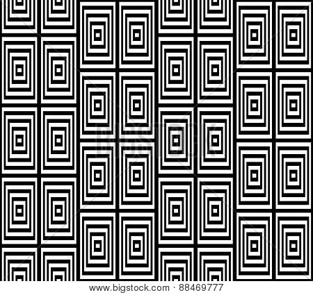Abstract Square Bases Black and White Seamless Pattern, Vector I