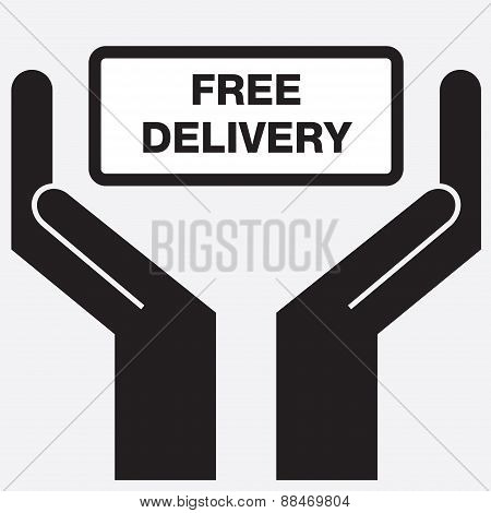 Hand showing free delivery sign icon.