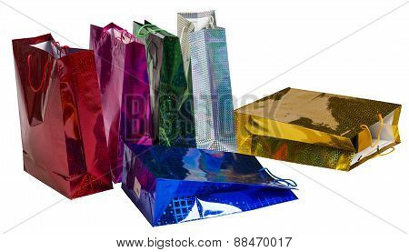 Six scattered Colourful paper shopping bags