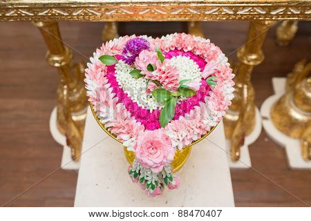 Thai Flower Heart Shaped Garland On Golden Tray With Pedestal Use For Blessed Water In Thai Wedding