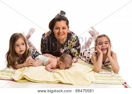 Happy Mother With Three Daughters