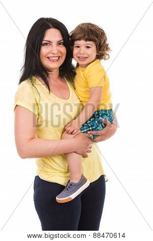 Laughing Mother And Toddler Son