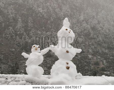 Mini Snowman Couple