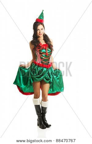 Full length woman wearing elf clothes