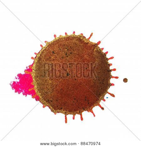Abstract Brown Magenta Ink Stain On A White Background