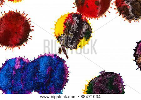 Abstract Red, Orange, Yellow, Green, Blue, Indigo, Violet, Ink Stain
