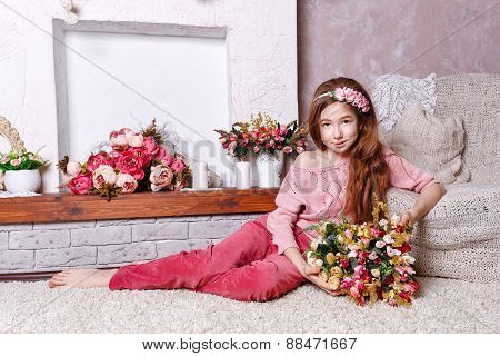 Teen Girl With A Bouquet Of Flowers