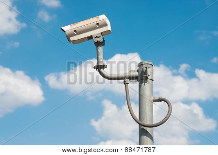 The Traffic Security Cctv Camera Operating On Road Detecting Traffic