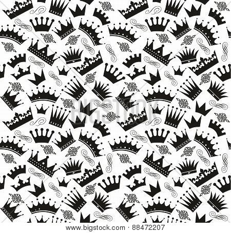 Retro seamless pattern of  black crowns