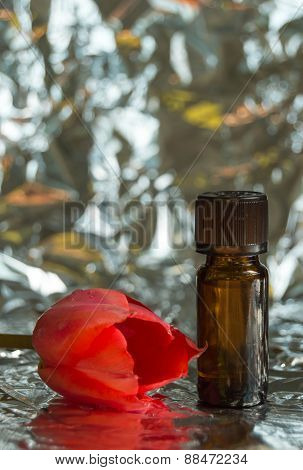 Floral perfume bottle and tulip