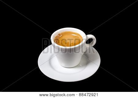 Cup Of Espresso A Coffee On Black Background