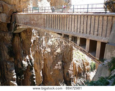 Bridge And Rockscape In Gorge In El Chorro