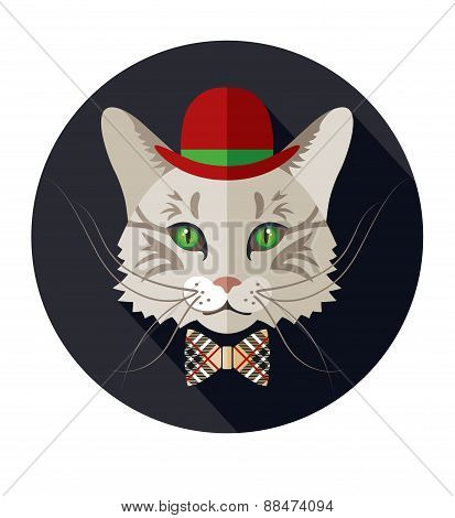 Vector animal portrait of cat