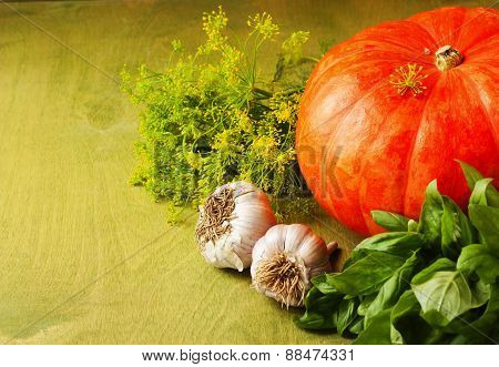Big Pumpkin, Garlic, Dill And Herbs