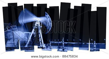 Pump jack and wellhead. Toned collage.