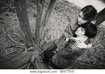 Young Beautiful Couple At The Tree