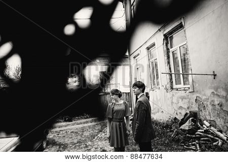 Young Beautiful Couple Near Old House