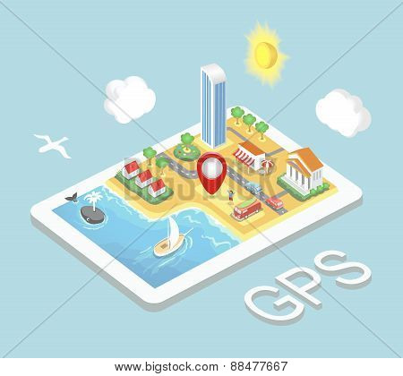 Flat map mobile GPS navigation, Infographic  isometric  concept. GPS route map.  illustration