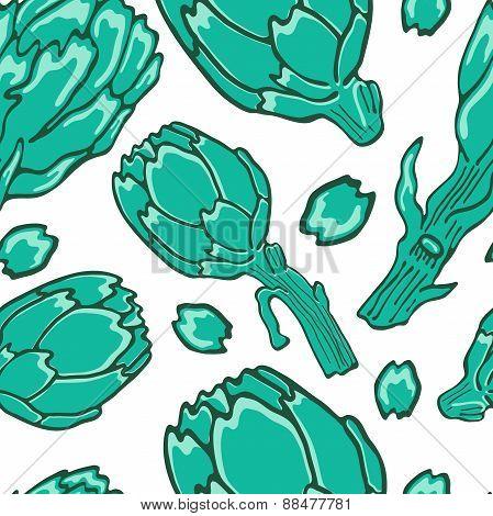 A colorful artichokes seamless pattern