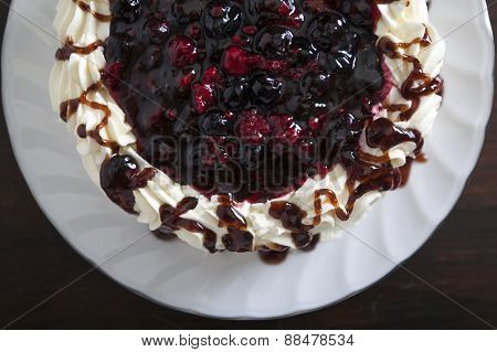 Cake With Fresh Berries And Cream, Closeup.